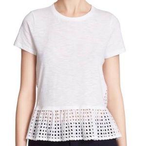 Kate Spade White Eyelet Peplum Tee Shirt Top